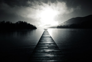 pier-lake-water-fog-black-and-white-hills-trees